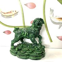Tượng đá trang trí chó giữ tài lộc phong thủy - Màu xanh lục bích - Cao19cm