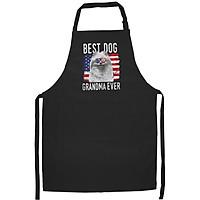 Tạp Dề Làm Bếp In Hình Womens American Flag Best Dog Grandma Ever Pomeranian USA