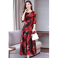 Women Summer Long Dress Fashion Flower Printing Pagoda Half Sleeve Slim Waist A-line Bohemia Dress