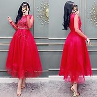 Đầm xoè tay dài công chúa kết pha lê SANG TRỌNG TRIPBLE T DRESS - size S/M/L/XL