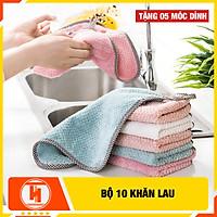 Bộ 10 khăn lau đa năng 2 mặt HT SYS-Khăn lau nhà bếp, khăn lau tay, khăn lau cửa kính - Chất liệu Microfiber-25.5cmx25cm-Tặng 05 móc dán tường