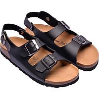 Sandal 2 khóa đen đế trấu 2125NAM