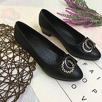 Giày cao gót nữ công sở đế 4p đính nơ đá xinh xắn hàng VNXK siêu bền M19