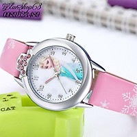 Đồng hồ kim cho bé gái có hình elsa màu hồng giá tốt
