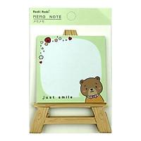 Giấy Note Moshi Moshi 423 - Mẫu 3 - Hình Gấu - Xanh Lá