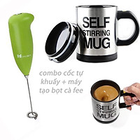 Combo cốc tự khuấy + máy tạ bọt cà phê đánh trứng.