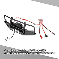 Metal Steel Front Bumper with Simulated Wired Automatic Winch ESC for 1/10 RC 4WD D90 Axial SCX10 Rock Crawler