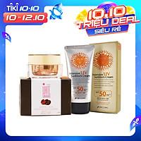 Bộ kem mờ nám da White Shinno Nhật Bản và kem chống nắng 3W Clinic