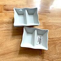 Đĩa chấm 2 ngăn đĩa chấm sành
