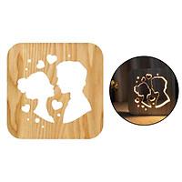 Wood Bedside Lamp, 3D Illusion Romance Lover Night Light, Best Hollow Design Bedroom Decor for Women Men,Creative LED Reading Study Desk Table Light