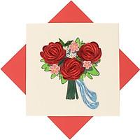 Thiêp Chúc Giấy Xoắn Thủ Công (Quilling Card) Bó Hoa Hồng  - Tặng Kèm Khung Giấy Để Bàn