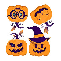 Halloween Pumpkins Decorative Wall Art Sticker Novelty Background Creative Children's Room Wall Self-adhesive Cartoon Sticker