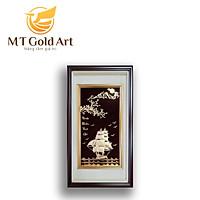 Tranh thuyền thuận buồm xuôi gió dát vàng (40x65cm) dáng đứng MT Gold Art- Hàng chính hãng, trang trí nhà cửa, phòng làm việc, quà tặng sếp, đối tác, khách hàng, tân gia, khai trương