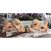 Cặp Rồng nằm phong thủy đá cẩm thạch vàng cà rốt - Dài 30 cm