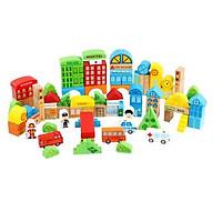 Đồ chơi mô hình giao thông - mô hình thành phố 100 chi tiết gỗ cho bé