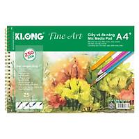 Sổ vẽ lò xo kép đa năng KLONG Fine Art A4 - 250 GSM - 25 tờ; MS: 777