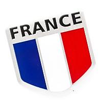 Sticker hình dán metal cờ Pháp - Khiên 5x5cm