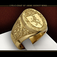 Combo Nhẫn Nam Nữ kiểu dáng Hoàng Gia, Khắc hình Sư Tử, Chất liệu titanium mạ Vàng 8K, Kèm túi đựng Nhẫn bằng Nhung mềm.