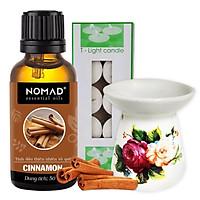 Combo Tinh Dầu Vỏ Quế Nomad Cinanmon Essential Oils 50ml + Đèn Đốt Dạng Nến + 1 Hộp Nến Tealight 10 Viên