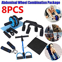 8/7PCS AB Wheel Roller Kit with Push-Up Bar Jump Rope Hand Gripper And Knee Pad Abdominal Core Carver Fitness Workout Home Fitness Muscle Training Set