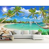 Tranh dán tường 3d cản bờ biển - tranh dán phòng khách - phòng ngủ - hành lang DD107