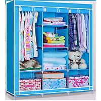 Tủ vải đựng quần áo 3 buồng 8 ngăn khung hợp kim(Giao màu ngẫu nhiên)