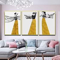 Bộ 3 tranh canvas treo tường Decor Họa tiết cô gái cách điệu phong cách hiện đại - DC098