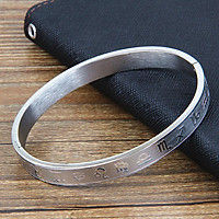 High Polished Classical Silver Plated Bracelet Bangle Titanium Steel Zodiac Pattern Engraved Bangle Bracelet Lucky Gifts for Women Men Lovers
