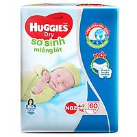 Miếng Lót Sơ Sinh Huggies Dry Newborn 2 - 60 (60 Miếng) - Bao Bì Mới