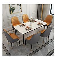 Bộ Bàn Ăn Luxury Chân Bọc Núm Đồng Siêu Phẩm của Năm BBDP-02 - Kích Thước 1.2m x 80cm và 6 Ghế Ăn - (Màu ghế ngẫu nhiên)