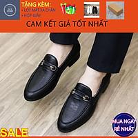 Giày tây nam công sở, Giày lười nam chất liệu da bò PU in vân đế cao su đúc - Mã GEA02