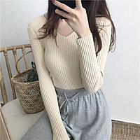 Áo len cổ tim dài tay chất len đũa dành cho nữ