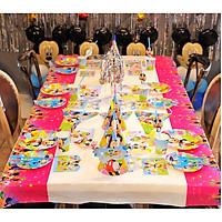 Set trang trí sinh nhật 16 món đầy đủ cho bé chủ đề Mickey màu xanh