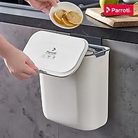 Thùng rác treo tủ bếp có nắp đậy thông minh, thùng rác treo tường dán tường, có thanh trượt cửa bếp – Parroti Bin BN02