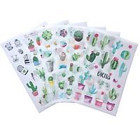 Bộ 6 Tấm Sticker Trang Trí Xương Rồng Castus