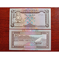 Tờ 20 Rials của nước Yemen, sưu tầm tiền cổ, mới 100% UNC - tặng kèm bao lì xì