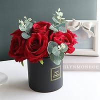 Hoa Giả - Bình Hoa Hồng Lụa Decor Cao Cấp, Gồm 7 Bông Lớn Y Hình, Lọ Gốm Chịu Nhiệt, Phong Cách Châu Âu Sang Trọng