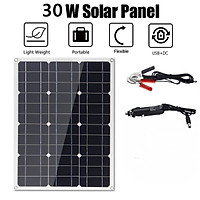 18V & 5V 30W single crystal flexible solar panel with single USB and DC in-line