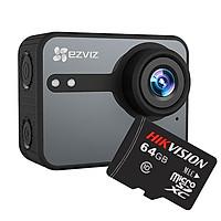 Camera hành động EZVIZ S3 (CS-SP206-C0-68WFBS) + Thẻ nhớ Hikvision 64GB - Hàng chính hãng