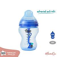 Bình sữa siêu chống đầy hơi kèm báo nhiệt Tommee Tippee Advanced Anti-Colic 260ml, núm ty đi kèm 0-3 tháng (bình đơn) - Xanh dương
