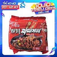 Bịch 5 Gói Mì Trộn Tương Đen Chapagetti Cay Sachun Nongshim Hàn Quốc 137G X 5