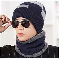 Bộ khăn mũ len nam kèm khăn 2 trong 1 phong cách Hàn, nón len nam cao cấp