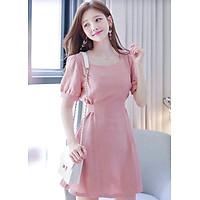 Đầm hồng form ngắn thắt eo