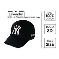 Nón kết Mũ lưỡi trai N.Y đen logo thêu trắng tinh tế dành cho nam nữ Free size, Full hộp