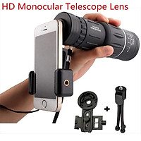 16x52 High Power HD Monocular Telescope Lens Dual Focus Prism Scope with Night Vision –Includes Universal Smartphone Mount and Tripod Waterproof Fog Proof Compact 16X Zoom for All Outdoors