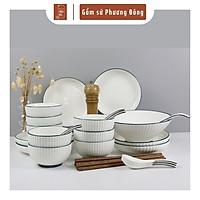 Bộ bát đĩa đẹp sang trọng màu trắng viền xanh 26 chi tiết, chén dĩa decor màu sắc trang nhã PD120