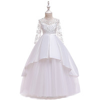 Đầm dạ hội bé gái Quảng Châu cao cấp cho bé gái trên 6 tuổi - QC21 TRẮNG