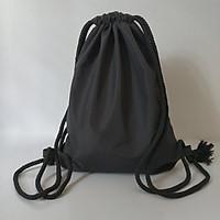 balo dây rút vải dù nhám, nhẵn, chất vải mềm, 2 lớp, không thấm nước (Màu đen)