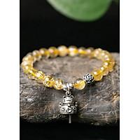 Vòng tay đá thạch anh tóc vàng charm mèo thần tài mệnh thủy, kim - Ngọc Quý Gemstones