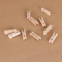 10 Kẹp gỗ màu tự nhiên, tặng 1 xấp giấy note siêu kute